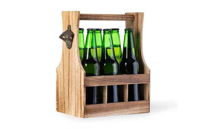 crate of beer. brown crate with green bottles inside