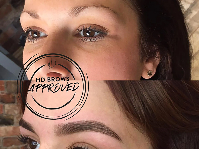 HD brows close up, before and after images. Before at the top, after below showing the difference in thickness from HD brows treatment